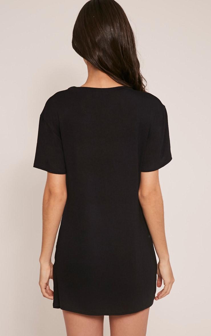 Eagles Slogan Print Black T Shirt Dress 4