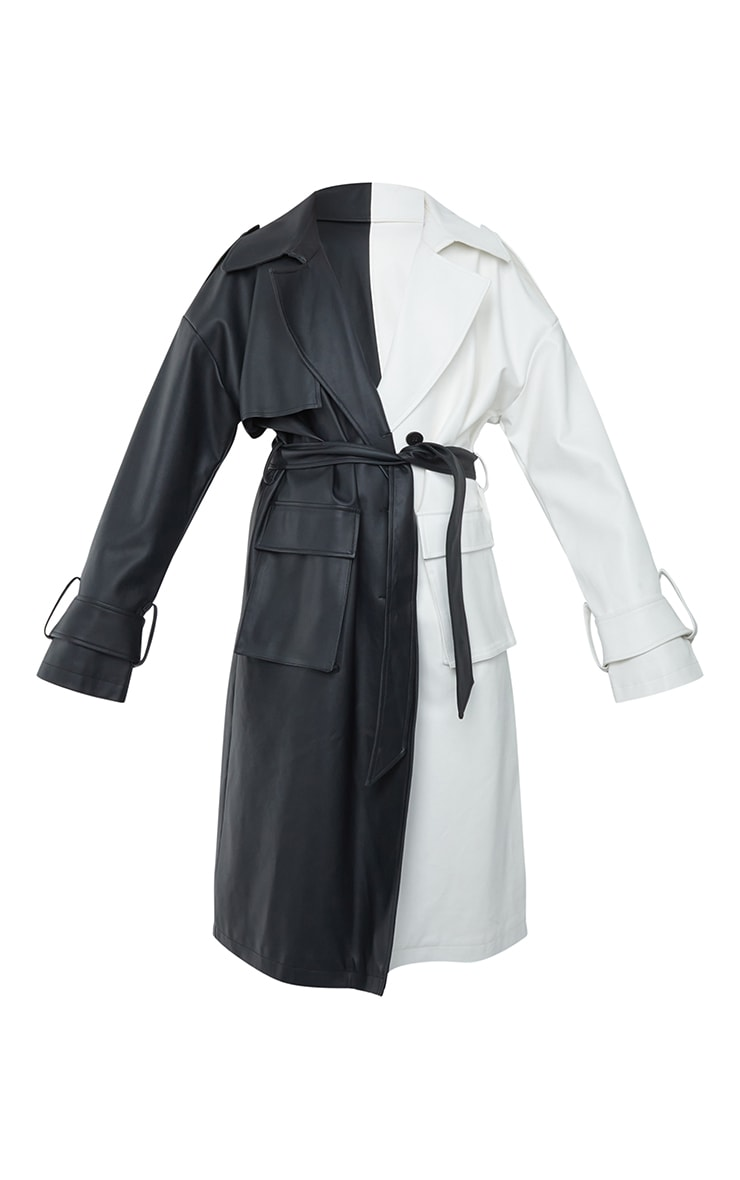 Black Faux Leather Two Tone Pocket Trench Coat 5