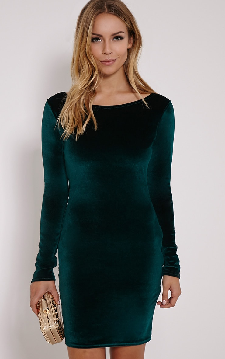Bonny Bottle Green Round Neck Velvet Mini Dress 1