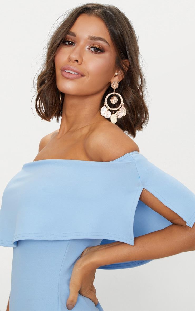 Dusty Blue Frill Bardot Bodycon Dress  5