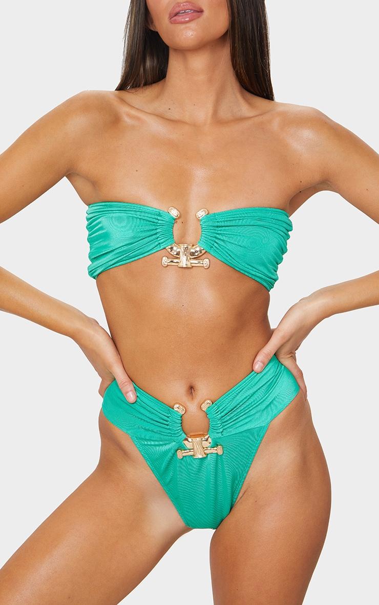 Green Hammered Trim Bikini Bottoms 6