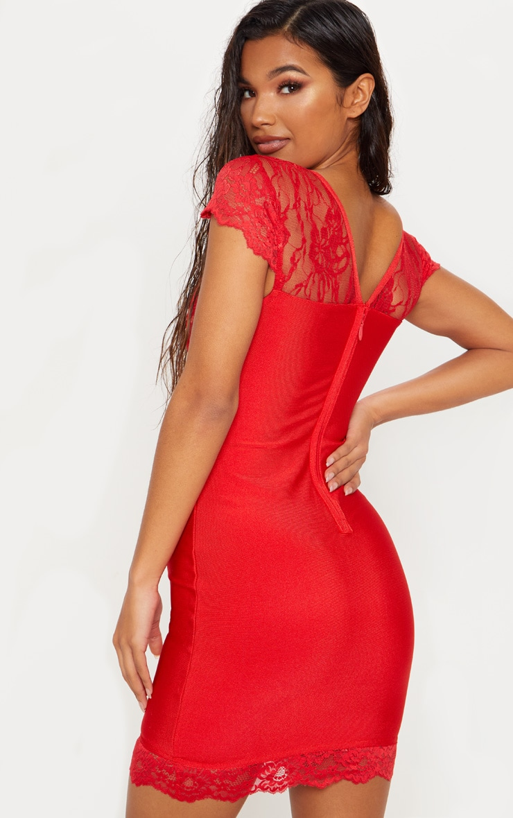 Red Bandage Lace Insert Bodycon Dress 2