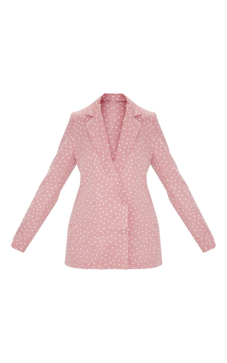 Pastel Pink Polka Dot Longline Woven Blazer 3