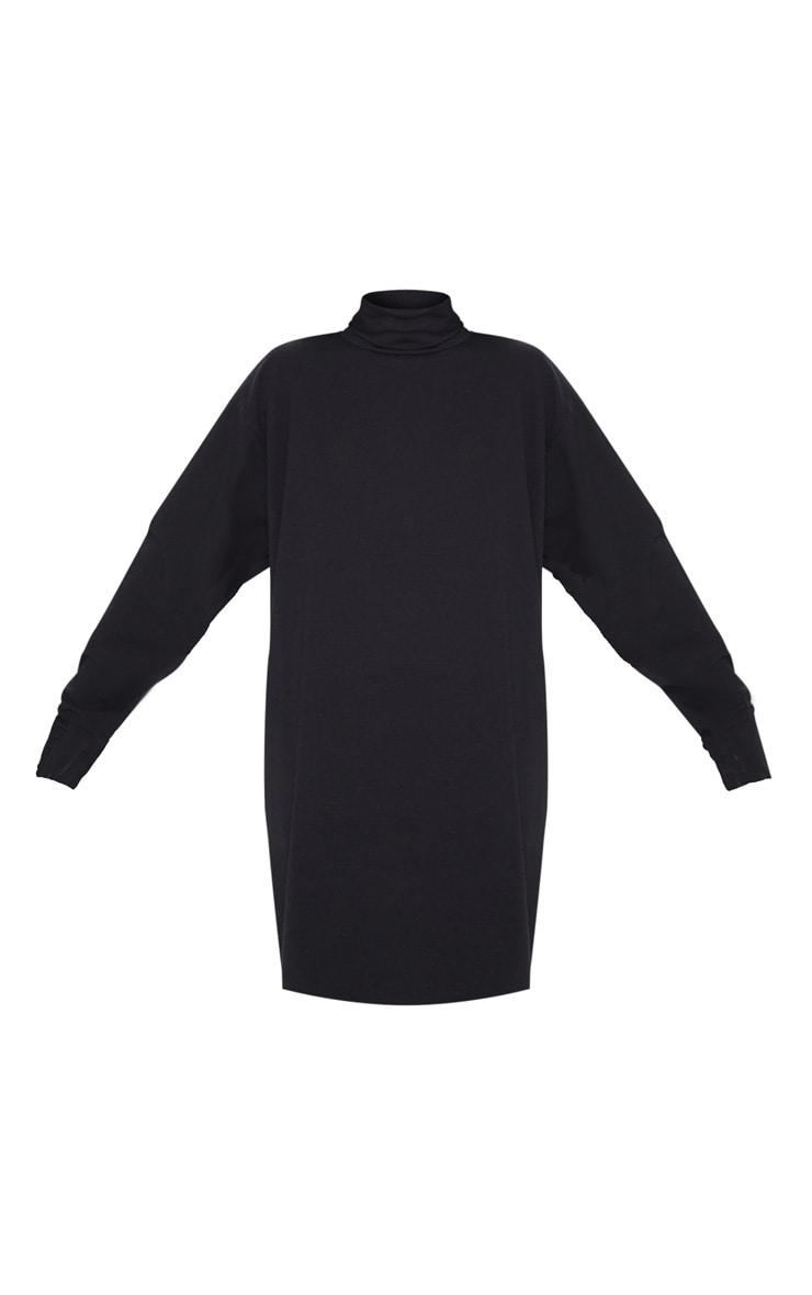 Black High Neck Long Sleeve T-Shirt Dress 3