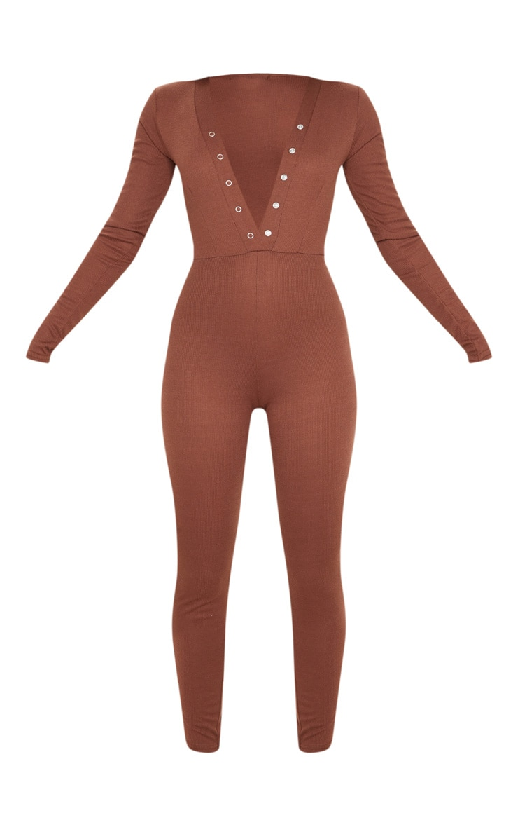 Chocolate Rib Popper Detail Long Sleeve Jumpsuit 3