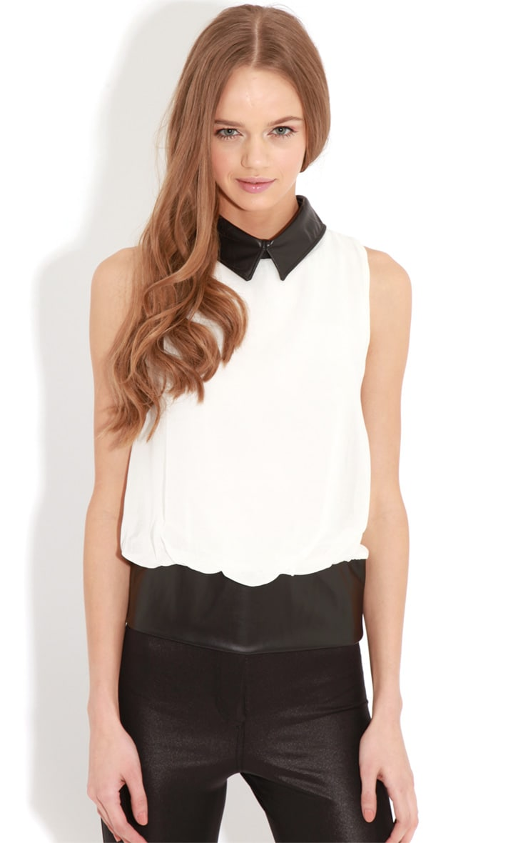 Eden White Chiffon Blouse With Faux Leather Collar 1