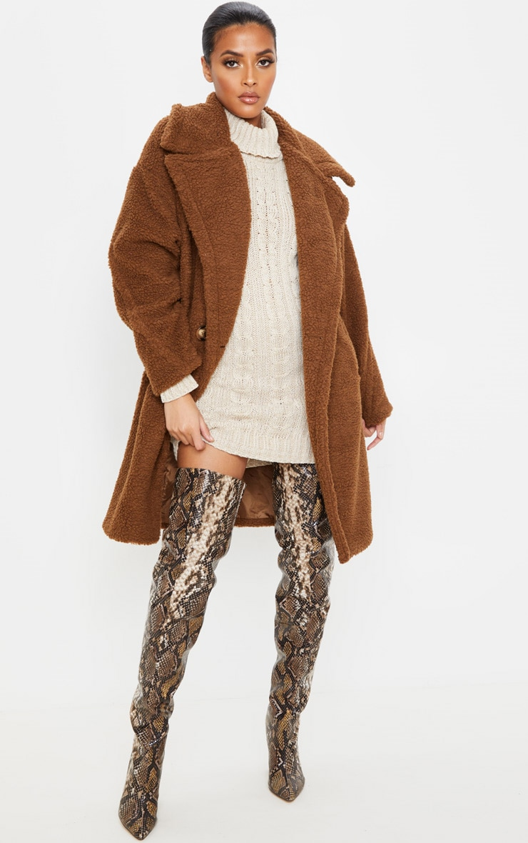 Chocolate Borg Drop Arm Midi Coat 4