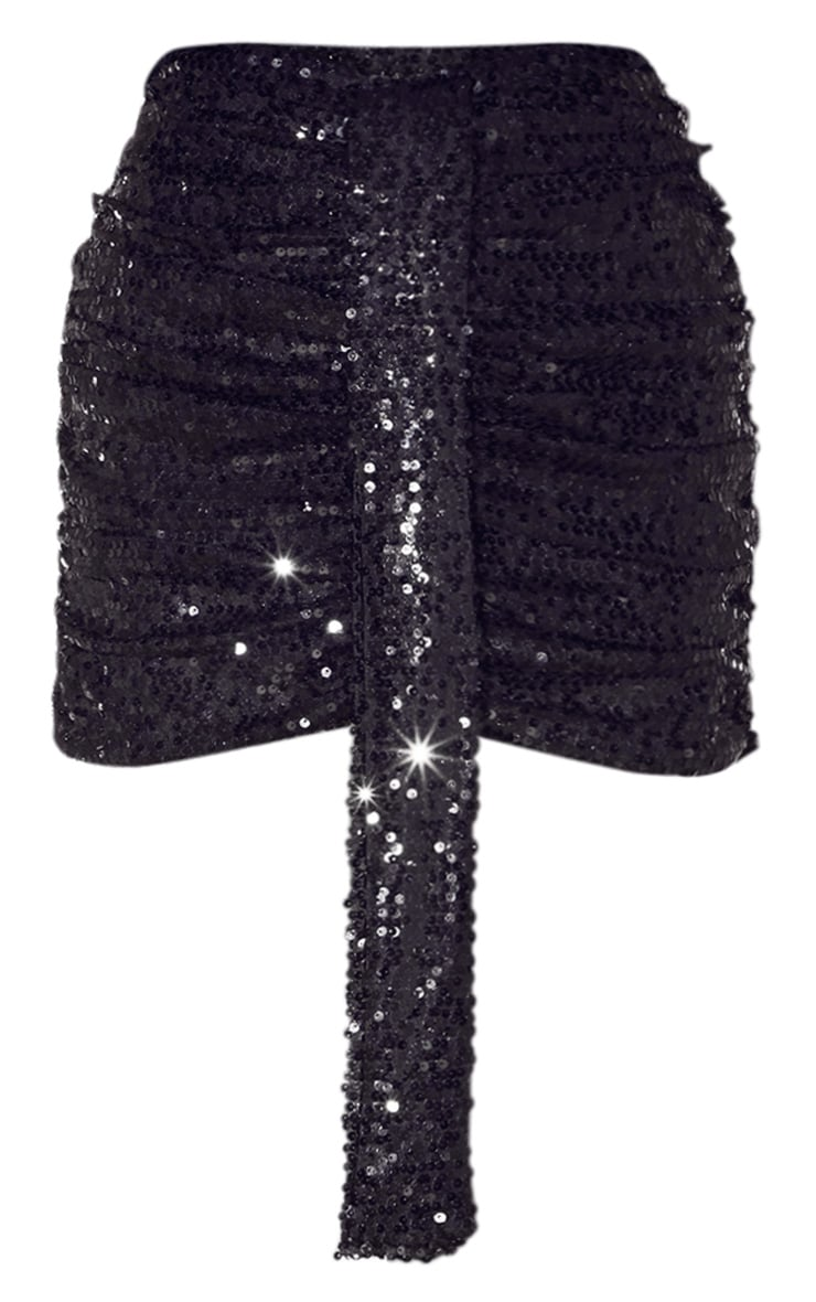 Black Sequin Ruched Mini Skirt 3