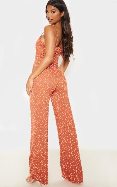 Burnt Orange Polka Dot Tie Front Strappy Jumpsuit