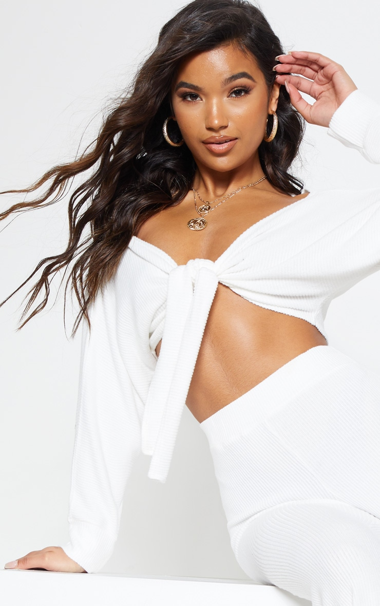 Cream Soft Rib Bardot Tie Front Crop Top 6
