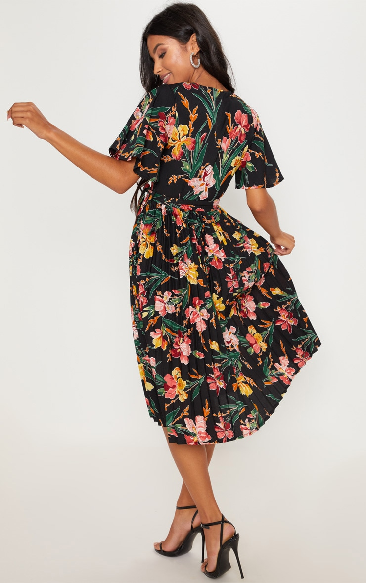 Black Floral Pleated Midi Dress 2