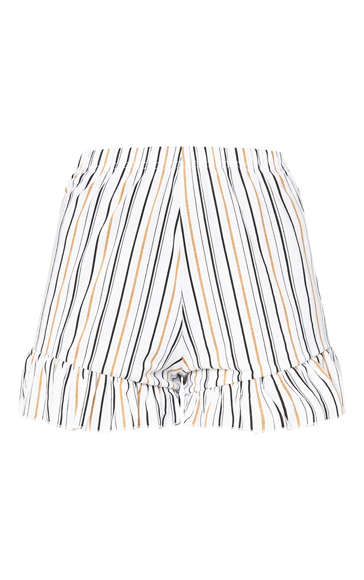White Stripe Frill Hem Shorts 3