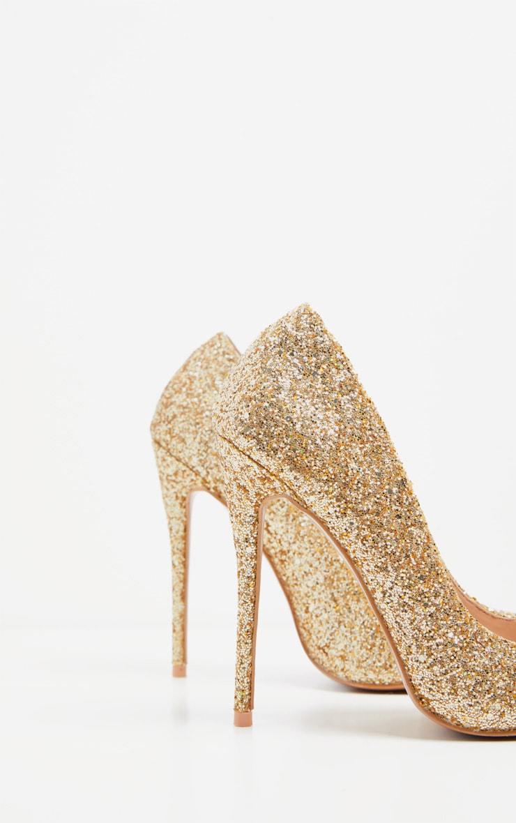 Gold Glitter Court Shoe 4