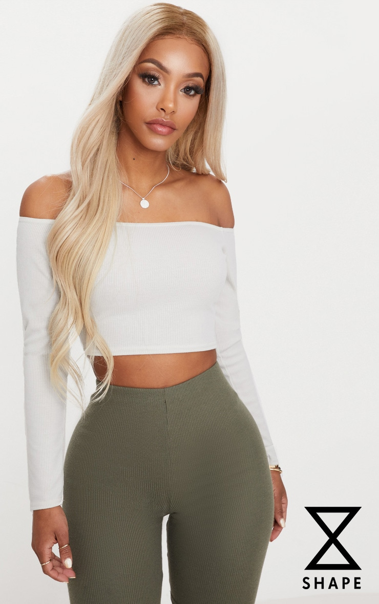 Shape Stone Bardot Ribbed Crop Top 1