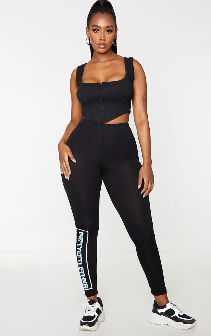 Shape Black Thick Rib Zip Crop Top 1