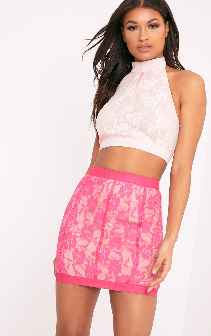 Zabrina Pink Lace Halterneck Crop Top  2