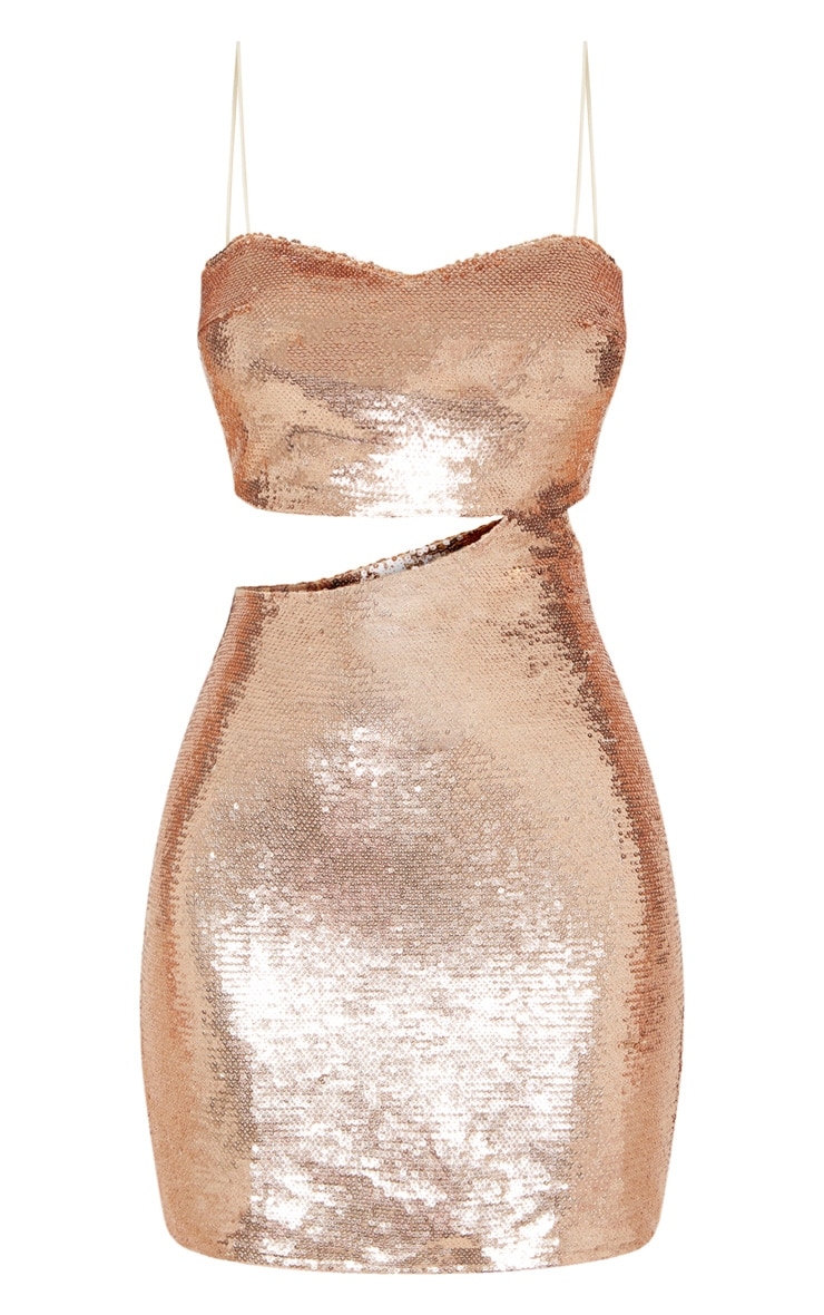 Rose Gold Sequin Strappy Cut Out Bodycon Dress 3