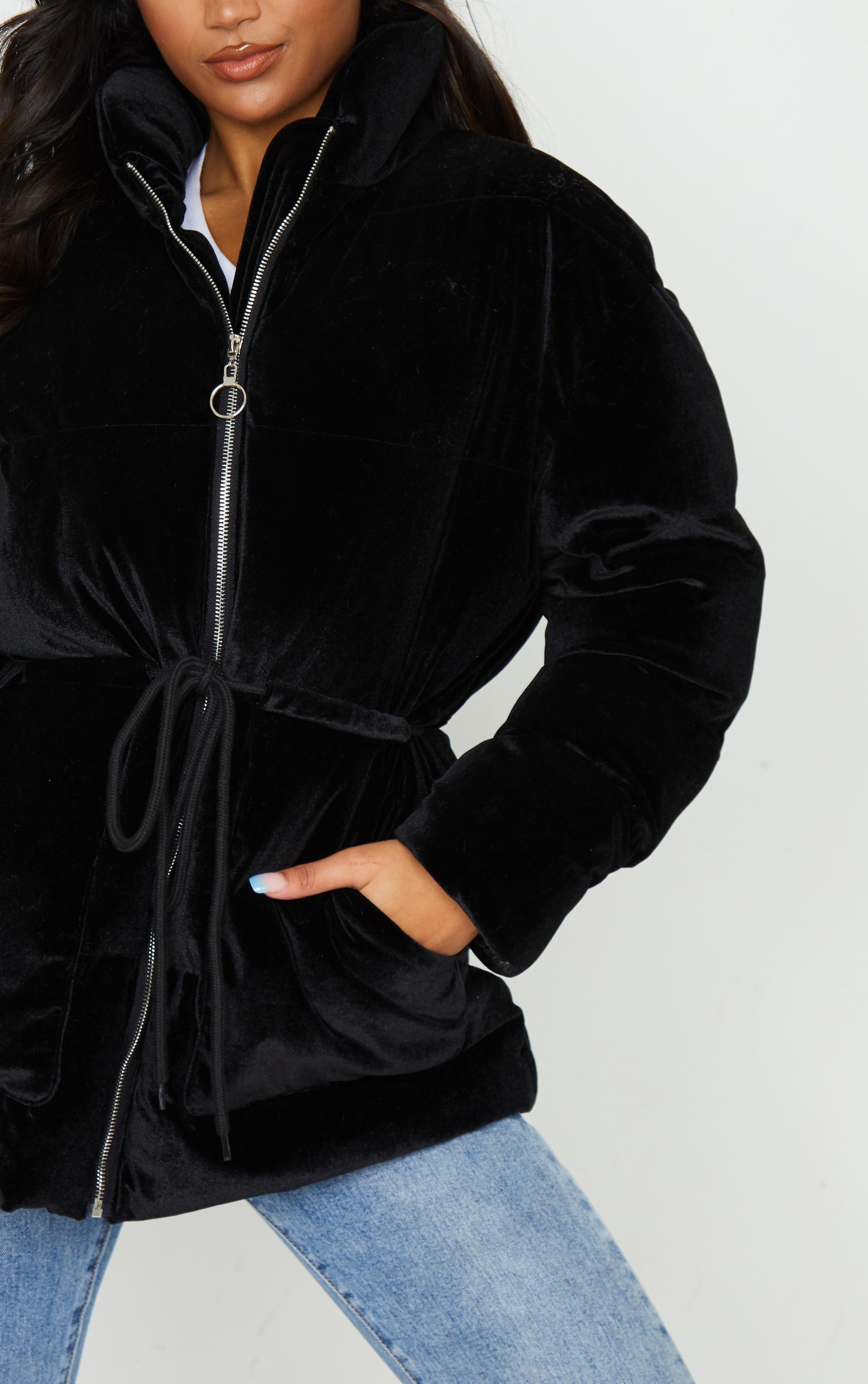 Black Padded Velvet Puffer 5