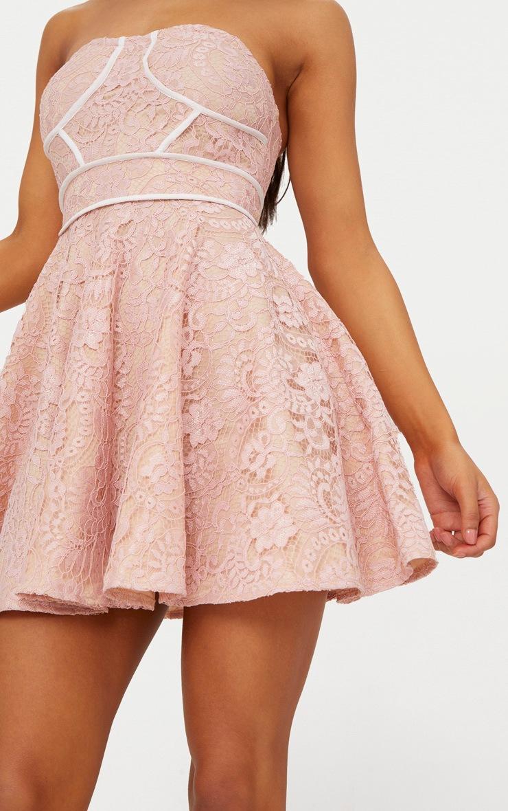 Dusty Pink Lace Binding Detail Bandeau Skater Dress 5