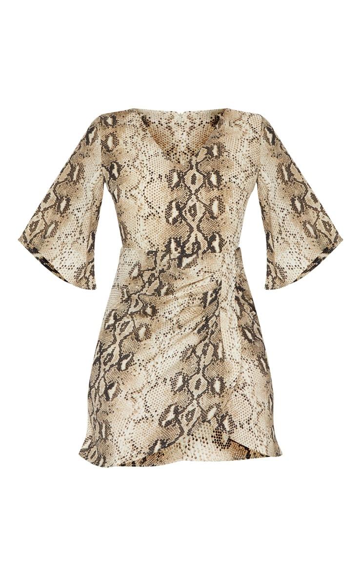 Beige Chiffon Snake Print V Neck Ruched Front Dress 3