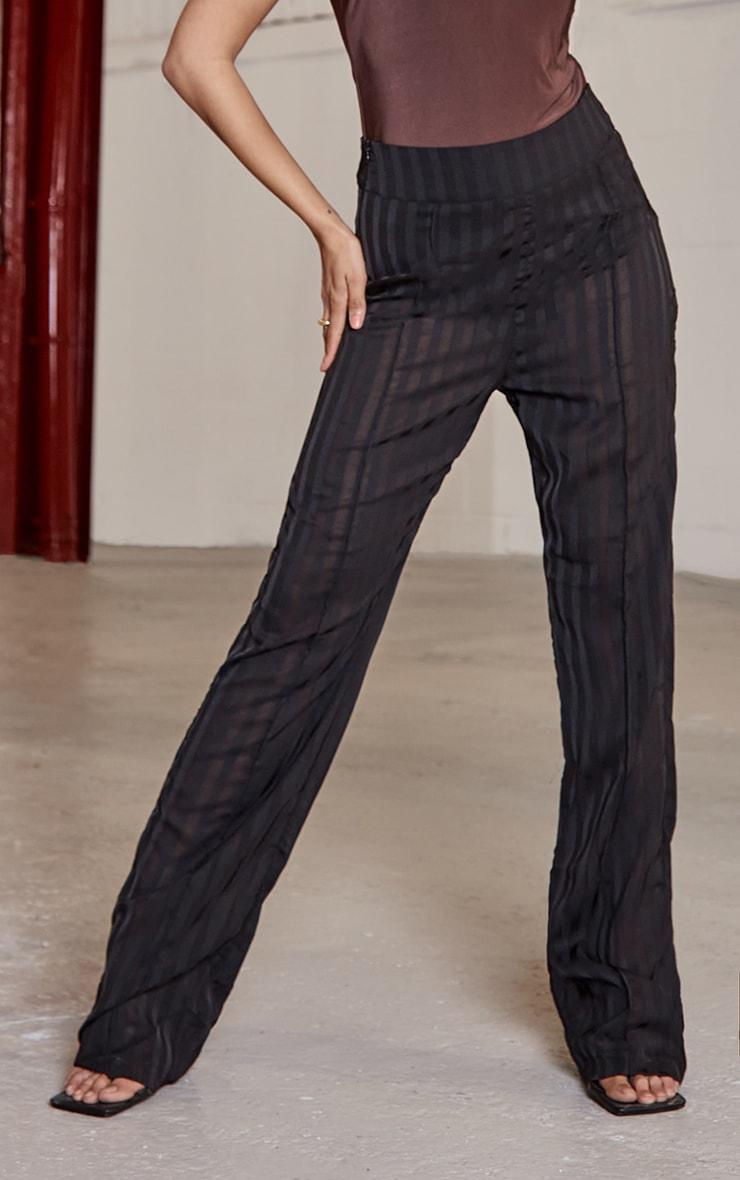 Black Woven Sheer Pintuck Straight Leg Trousers 2