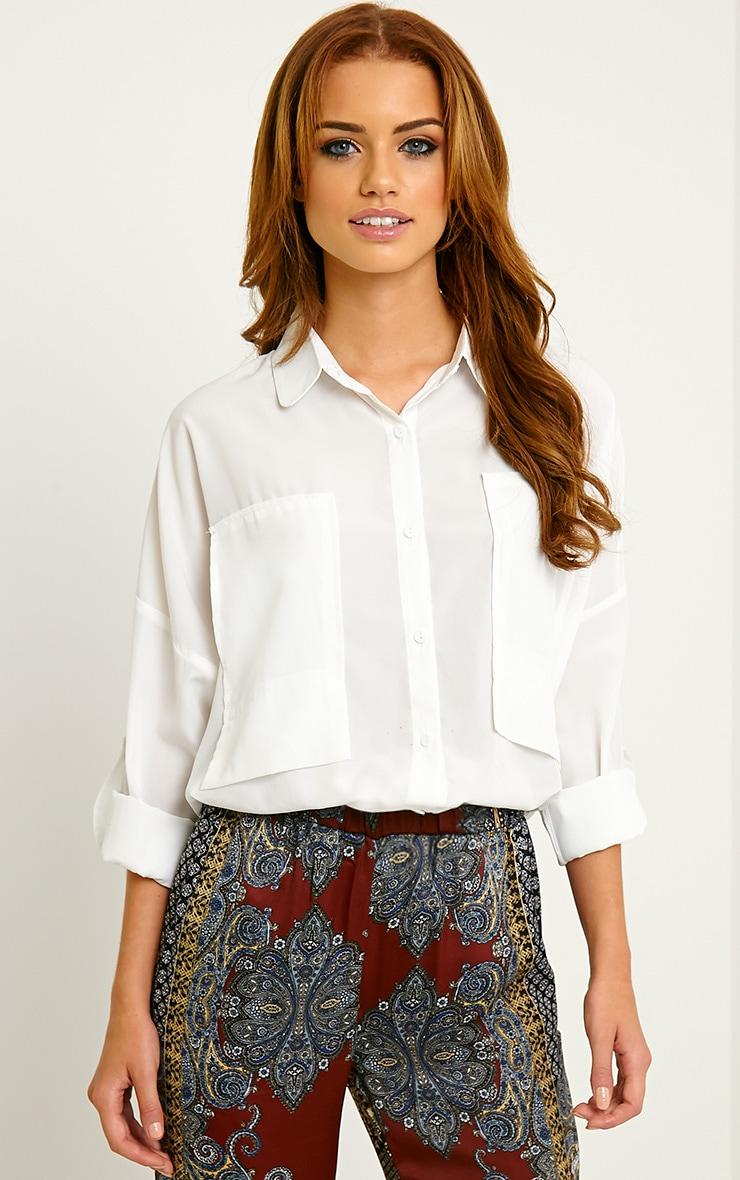 Birta White Oversized Pocket Shirt 1