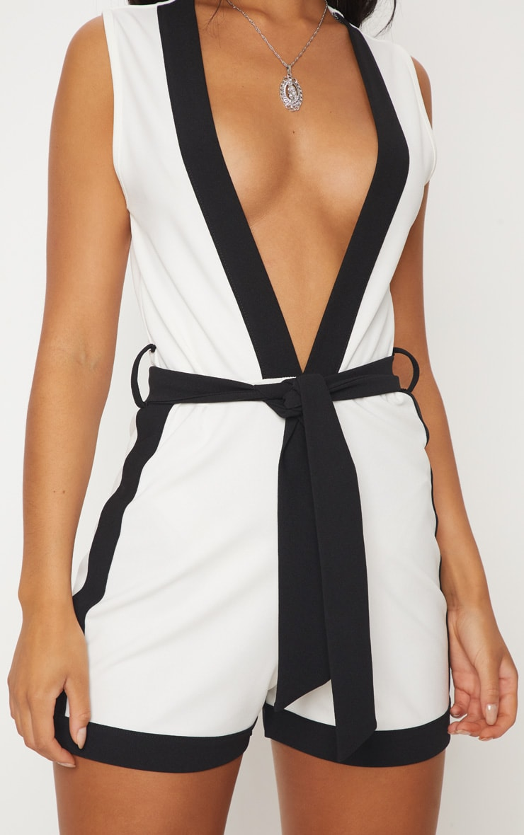White Contrast Binding Playsuit 5