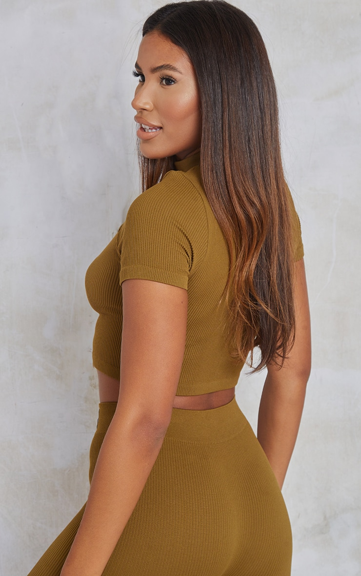 Olive Structured Contour Ribbed Short Sleeve High Neck Crop Top 2