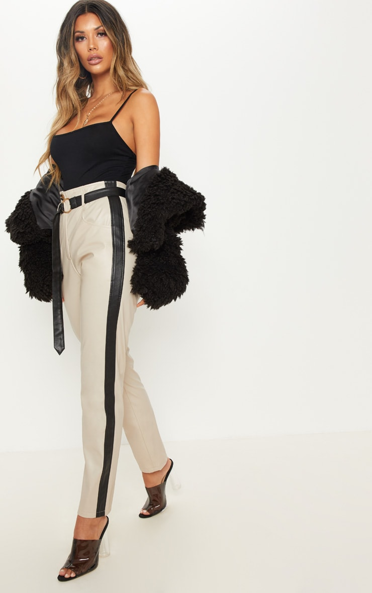 Taupe Faux Leather Side Stripe Trousers