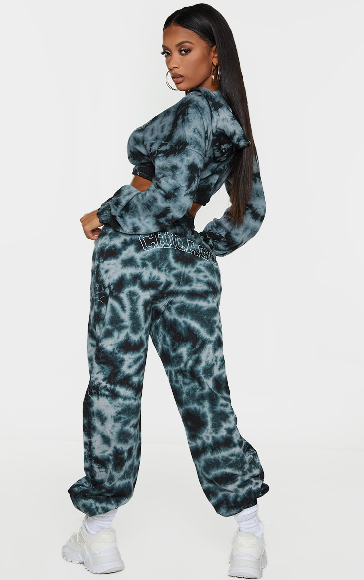 Shape Black Tie Dye Chicago Embroidered Bum Joggers 1