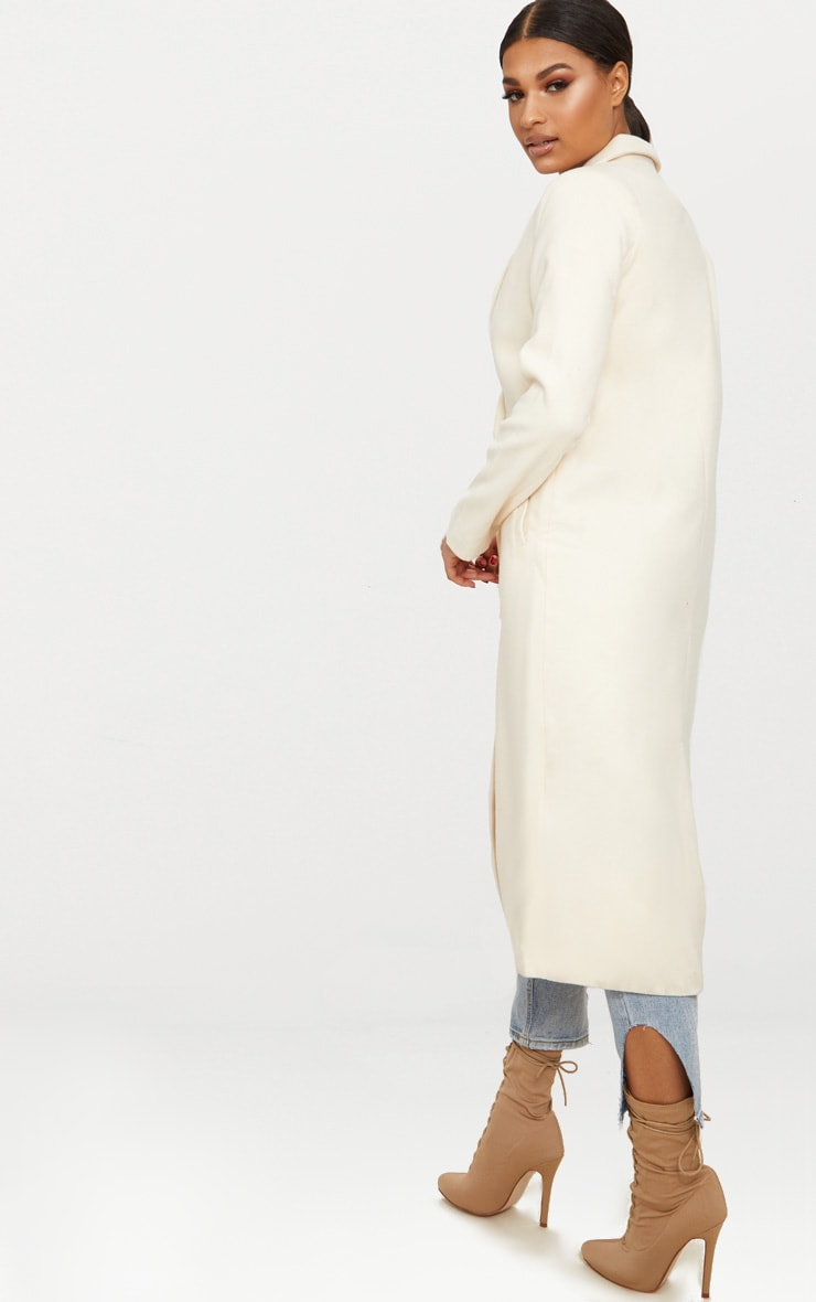 Cream Double Breasted Longline Coat 2