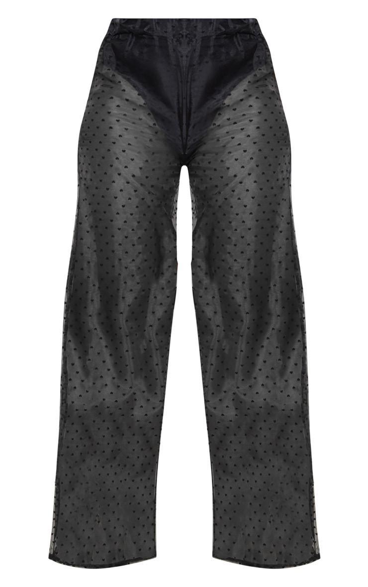 Black Organza Heart Wide Leg Trousers 5