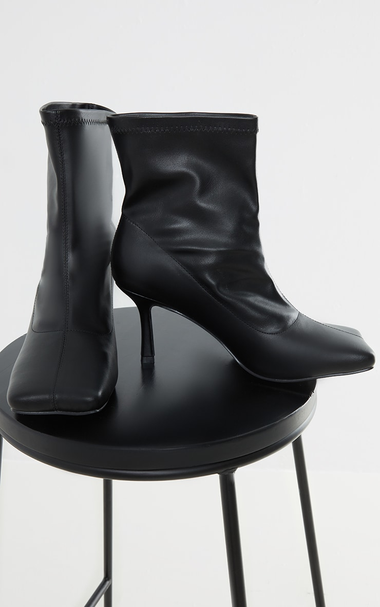 Black PU Extreme Square Toe Low Heeled Sock Boots 4