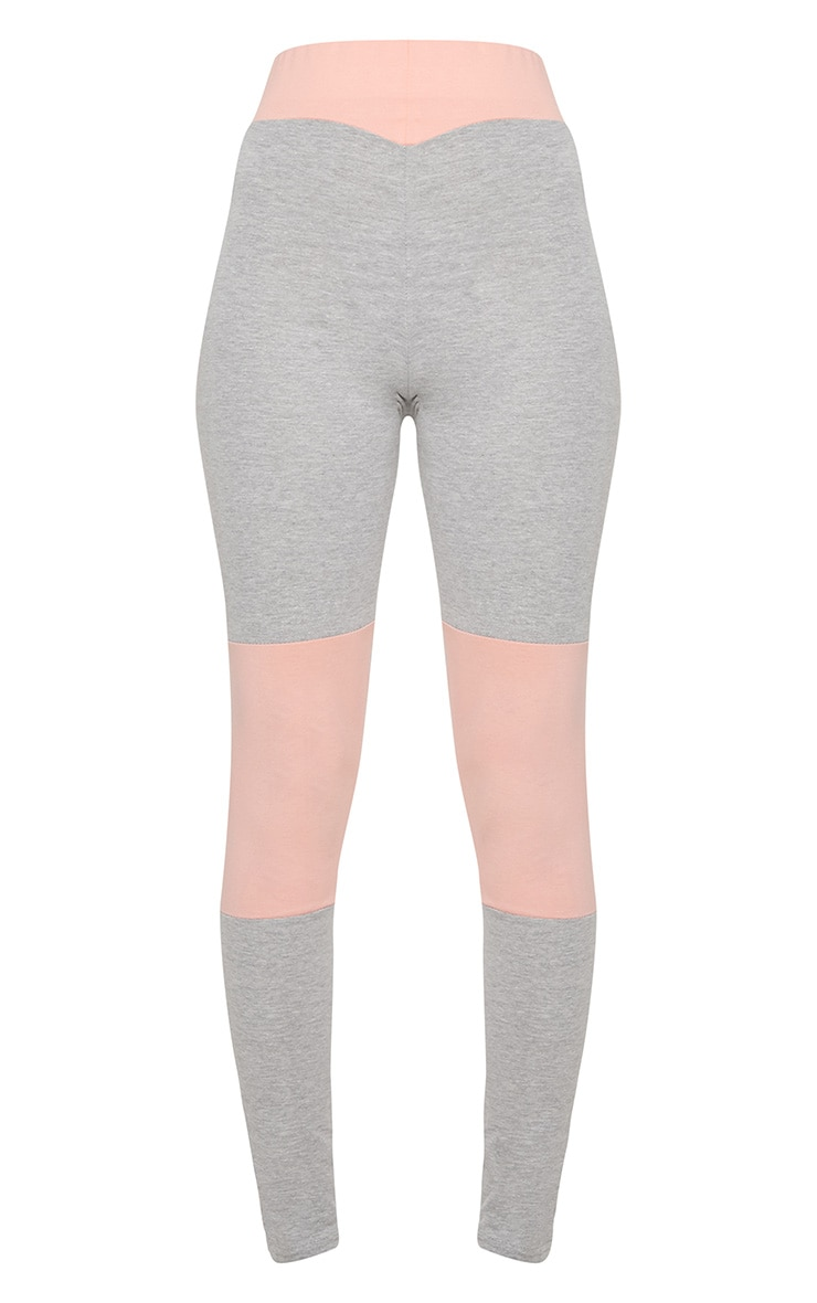 Grey And Pink Cotton Contrast Sports Leggings 3