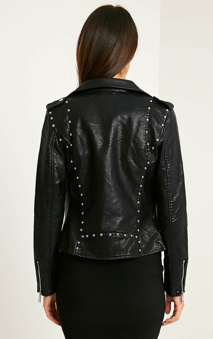 Jacklin Black Faux Leather Biker Jacket 3