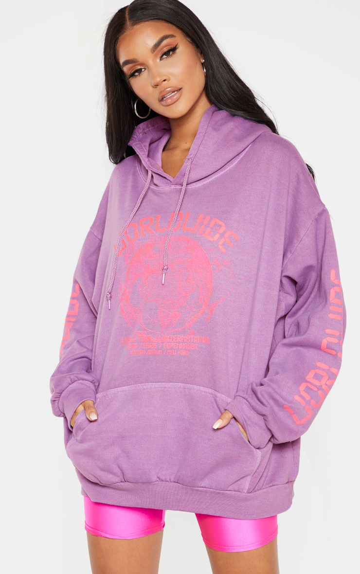 Washed Violet Worldwide Slogan Oversized Hoodie 1