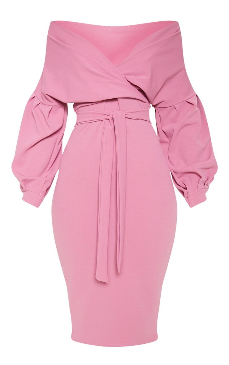 Washed Violet Wrap Tie Waist Puff Sleeve Midi Dress 3