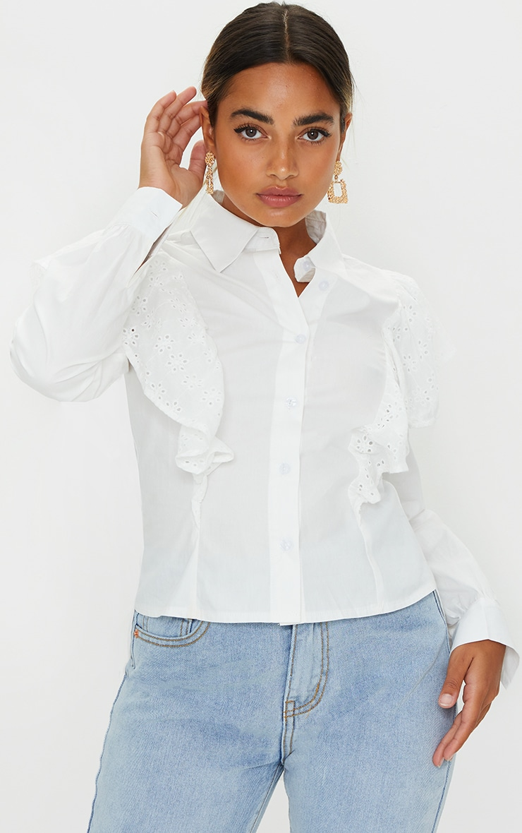 Petite White Broderie Anglaise Frill Blouse 1