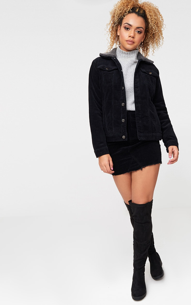 Black Faux Fur Collar Cord Jacket 4