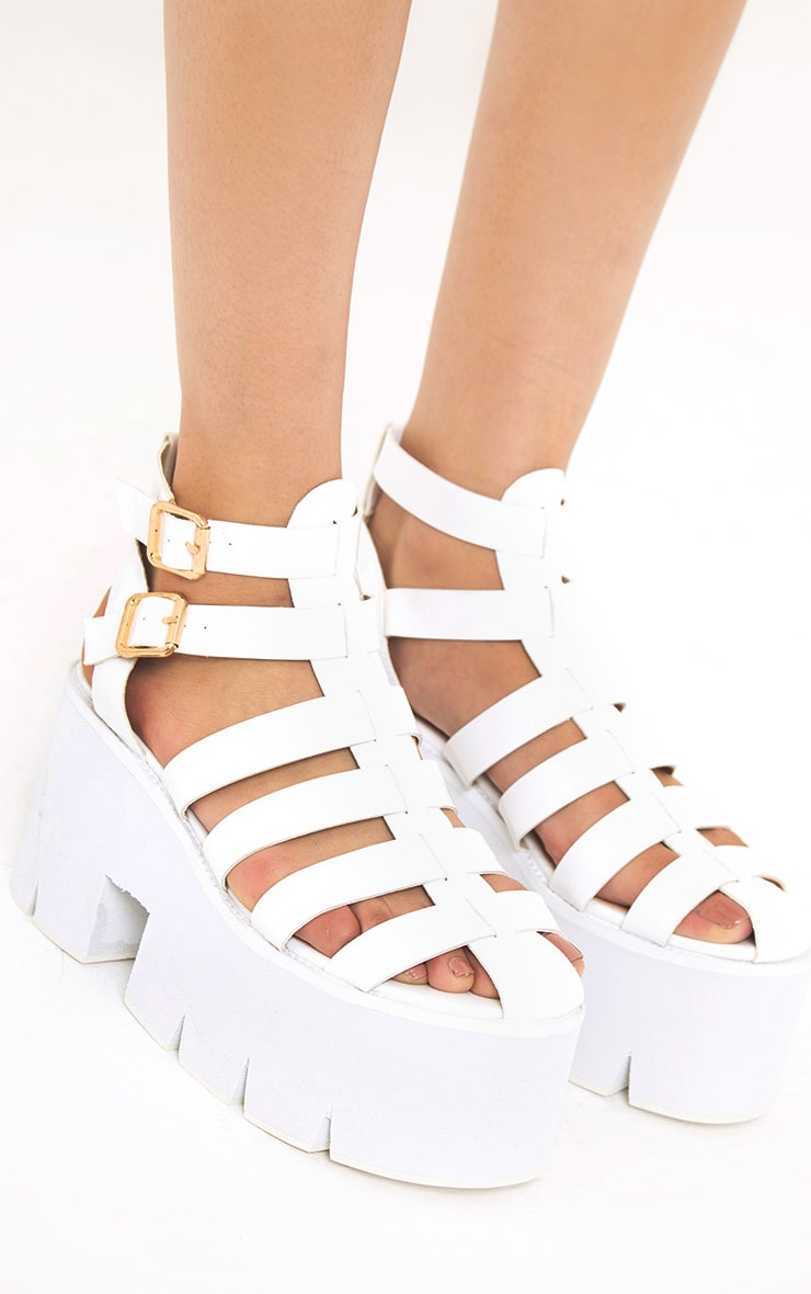 Jovana White Cleated Flatform Sandals 5