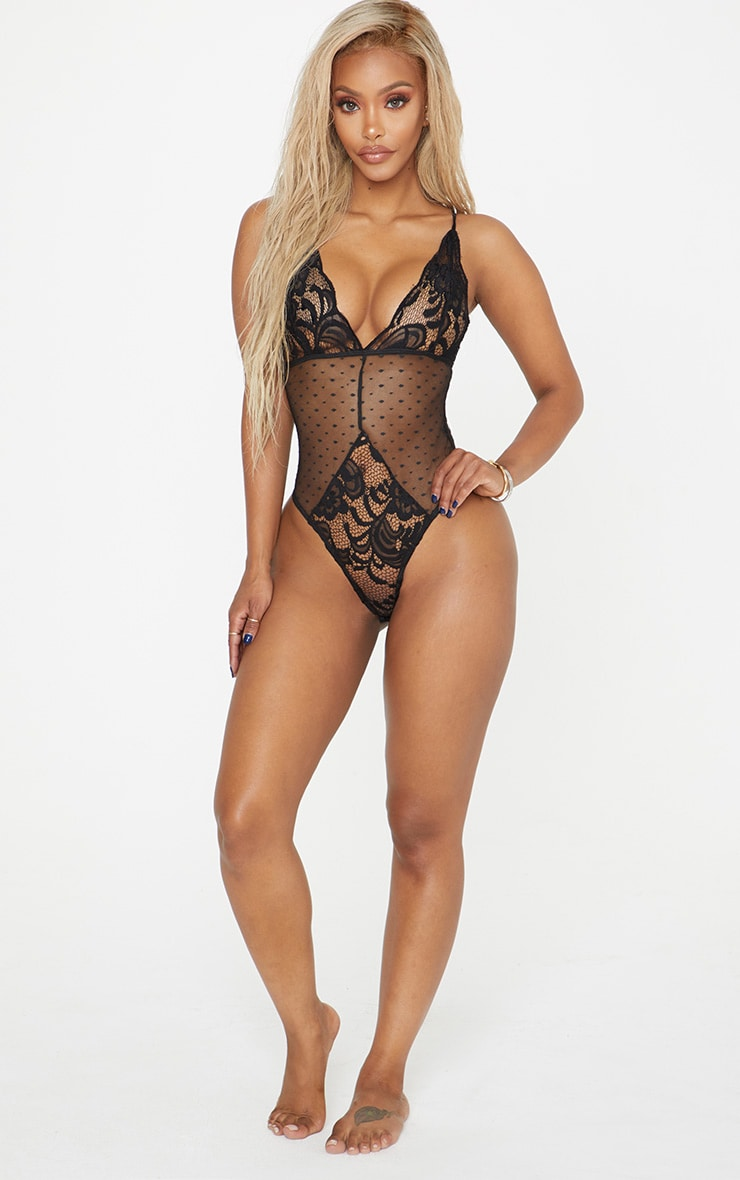 Shape Black Lace Dobby Mesh Bodysuit  5
