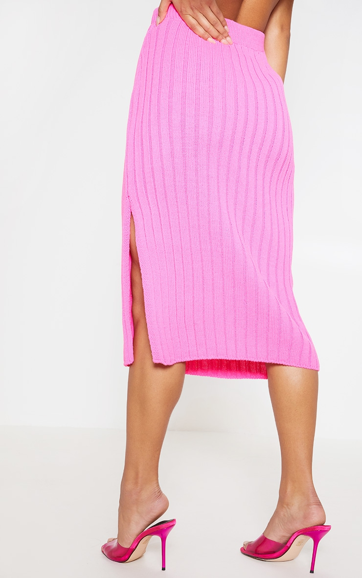 Hot Pink Knitted Ribbed Midi Skirt 4