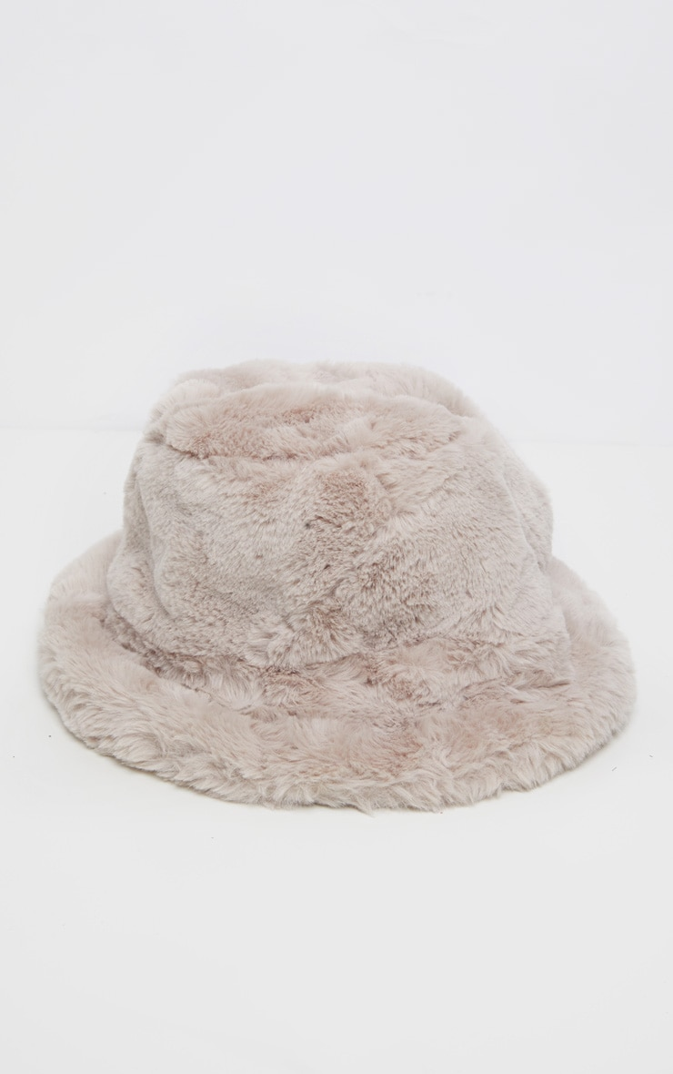 Beige Faux Fur Bucket Hat 2