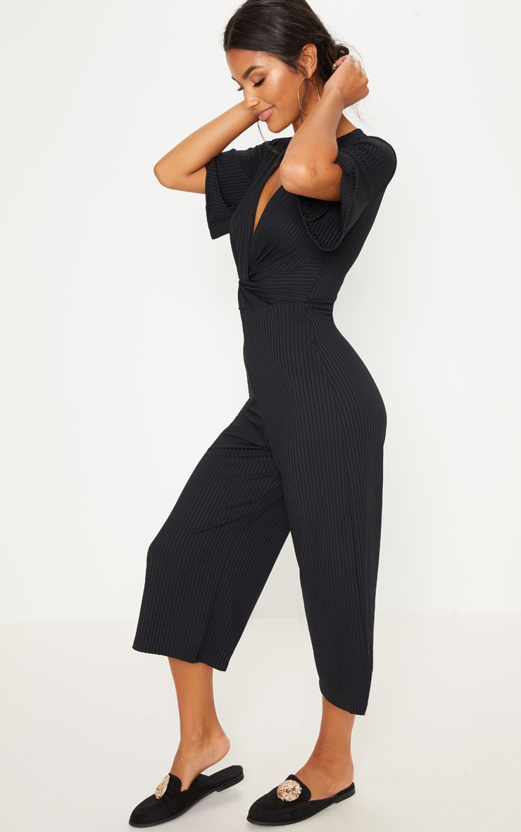 Black Ribbed Twist Detail Culotte Jumpsuit 4