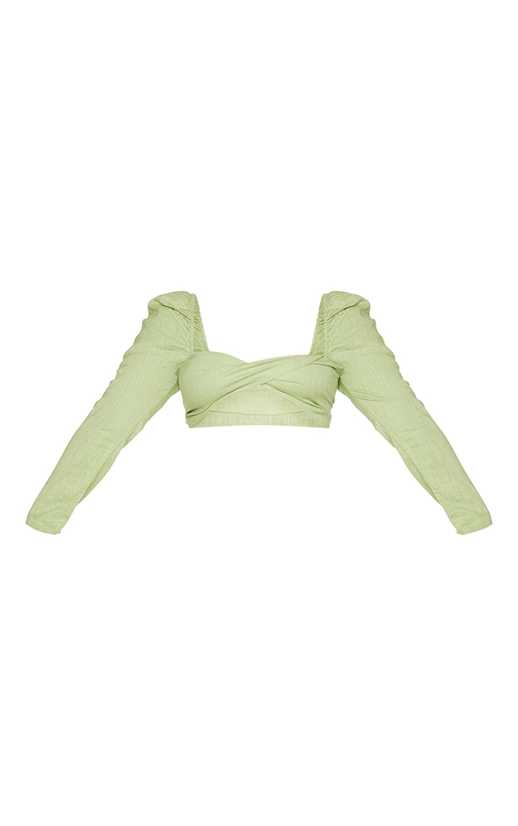 Plus Olive Woven Twist Front Long Sleeve Crop Top 5