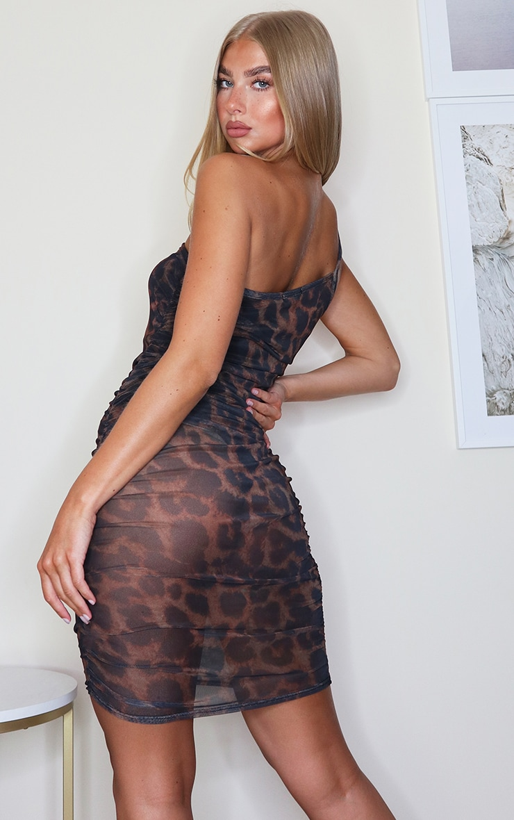Brown Leopard Print Mesh One Shoulder Ruched Bodycon Dress 2