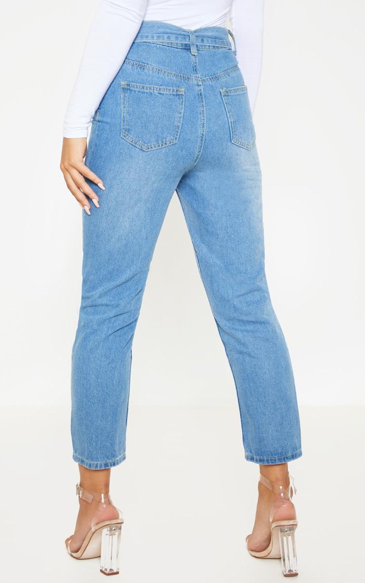 Petite Light Wash Belt Detail Distressed Straight Leg Jeans 4