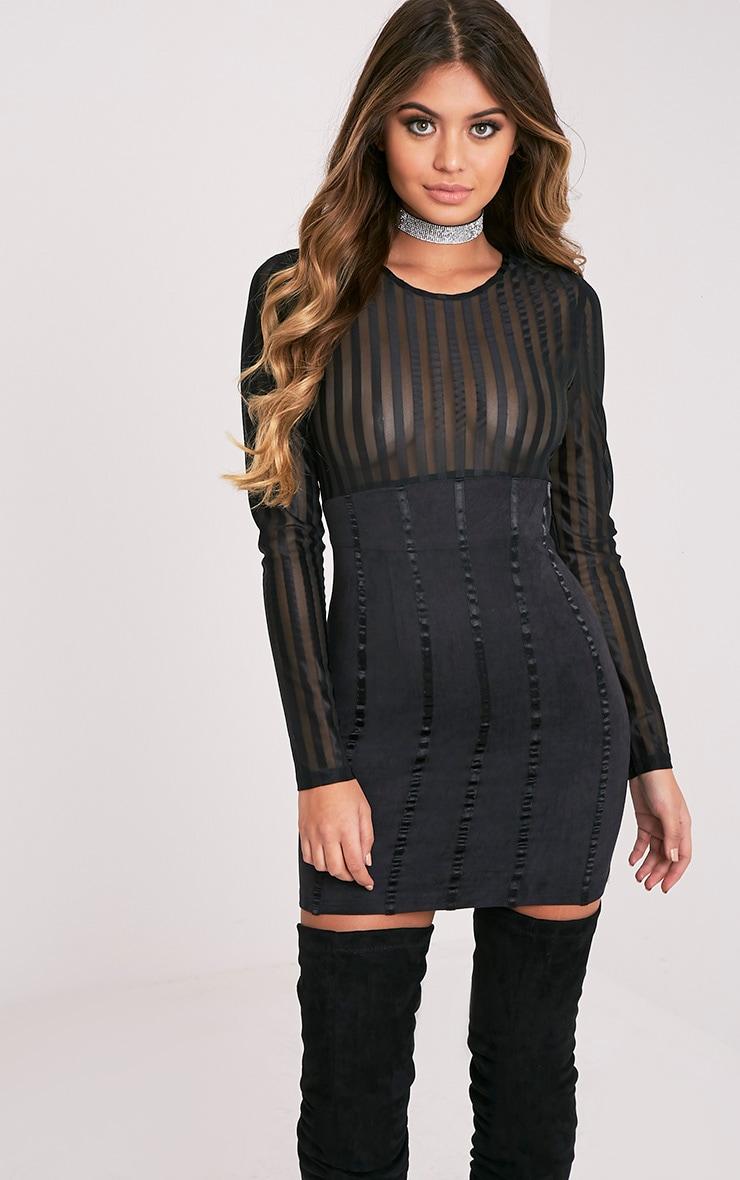 Iryka Black Mesh Stripe Suede Skirt Bodycon Dress 1