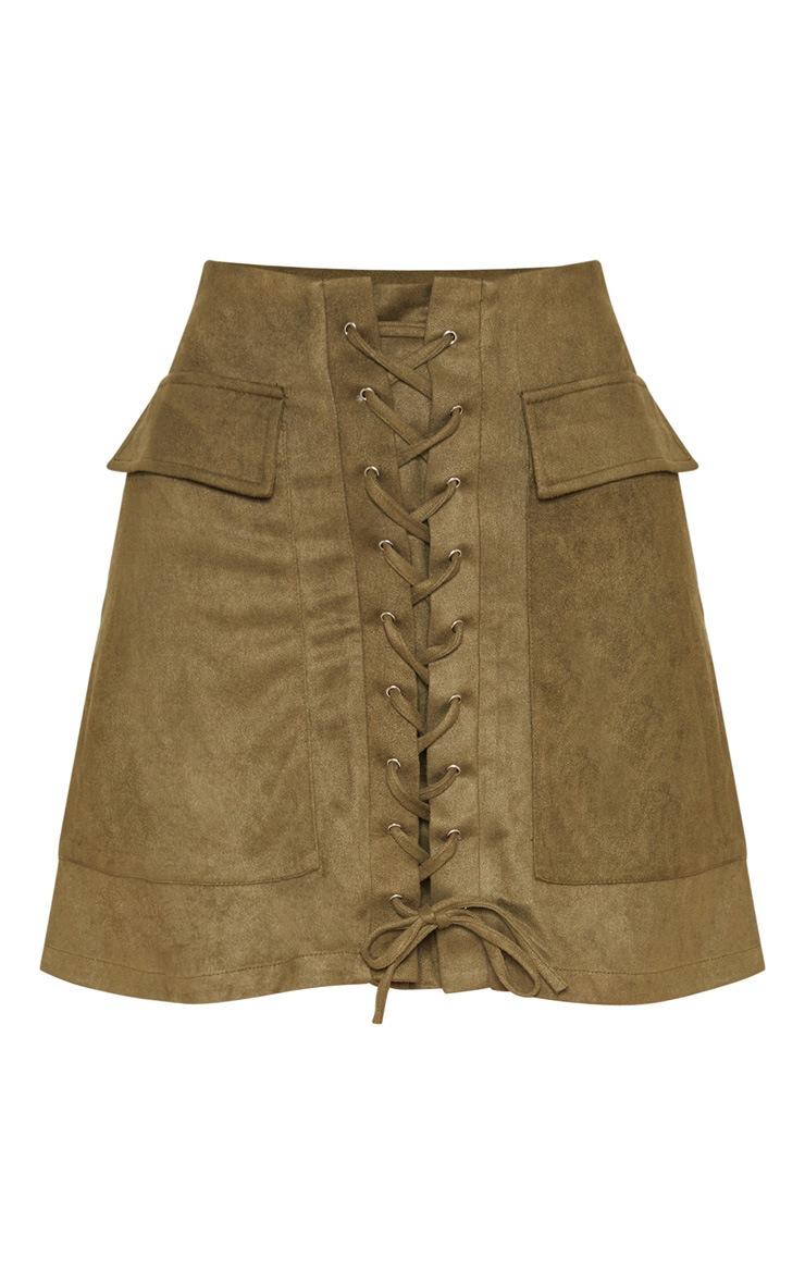 Khaki Faux Suede Lace Up Detail Mini Skirt 3