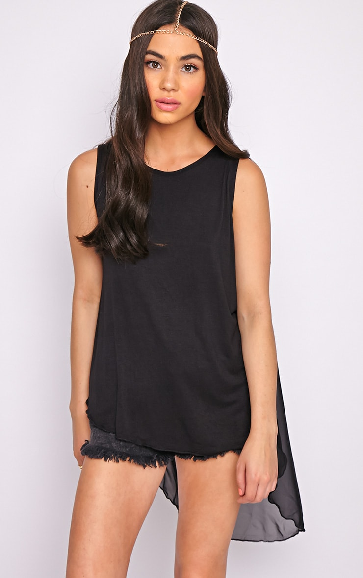 Malikah Black Dip Hem Top With Sheer Back 3